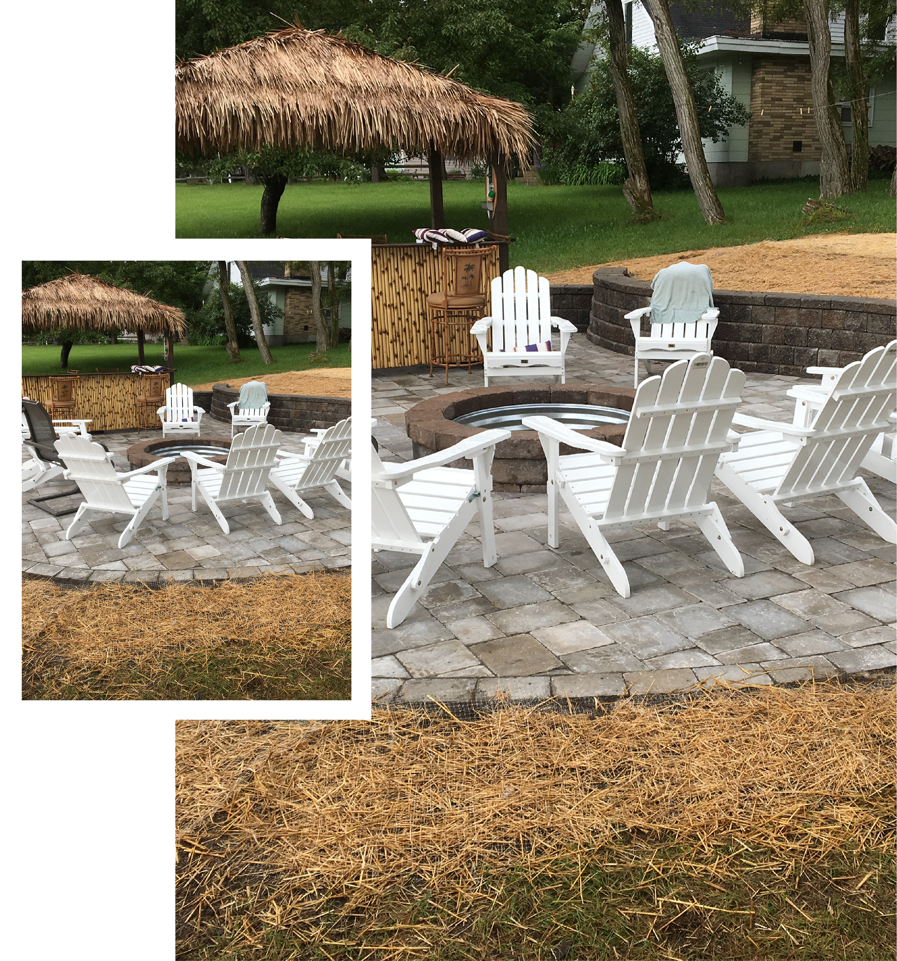 outdoor living space with retaining wall and paver fireplace and patio