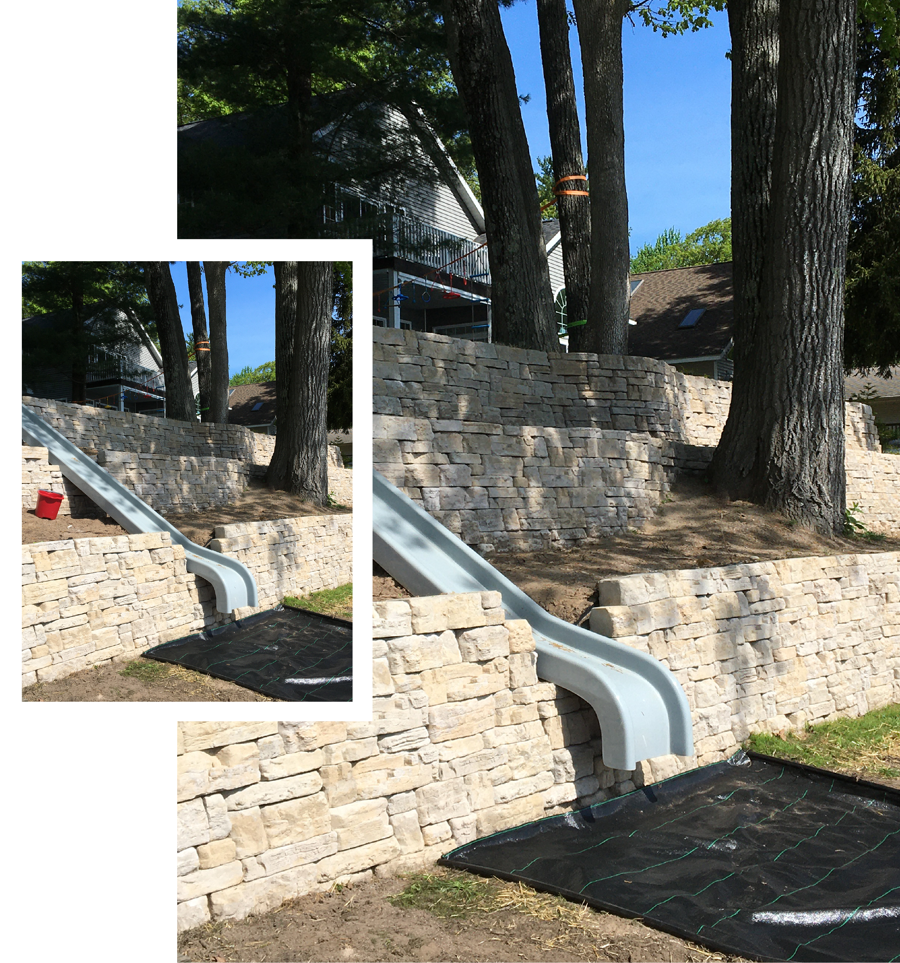Segmented retaining wall with slide