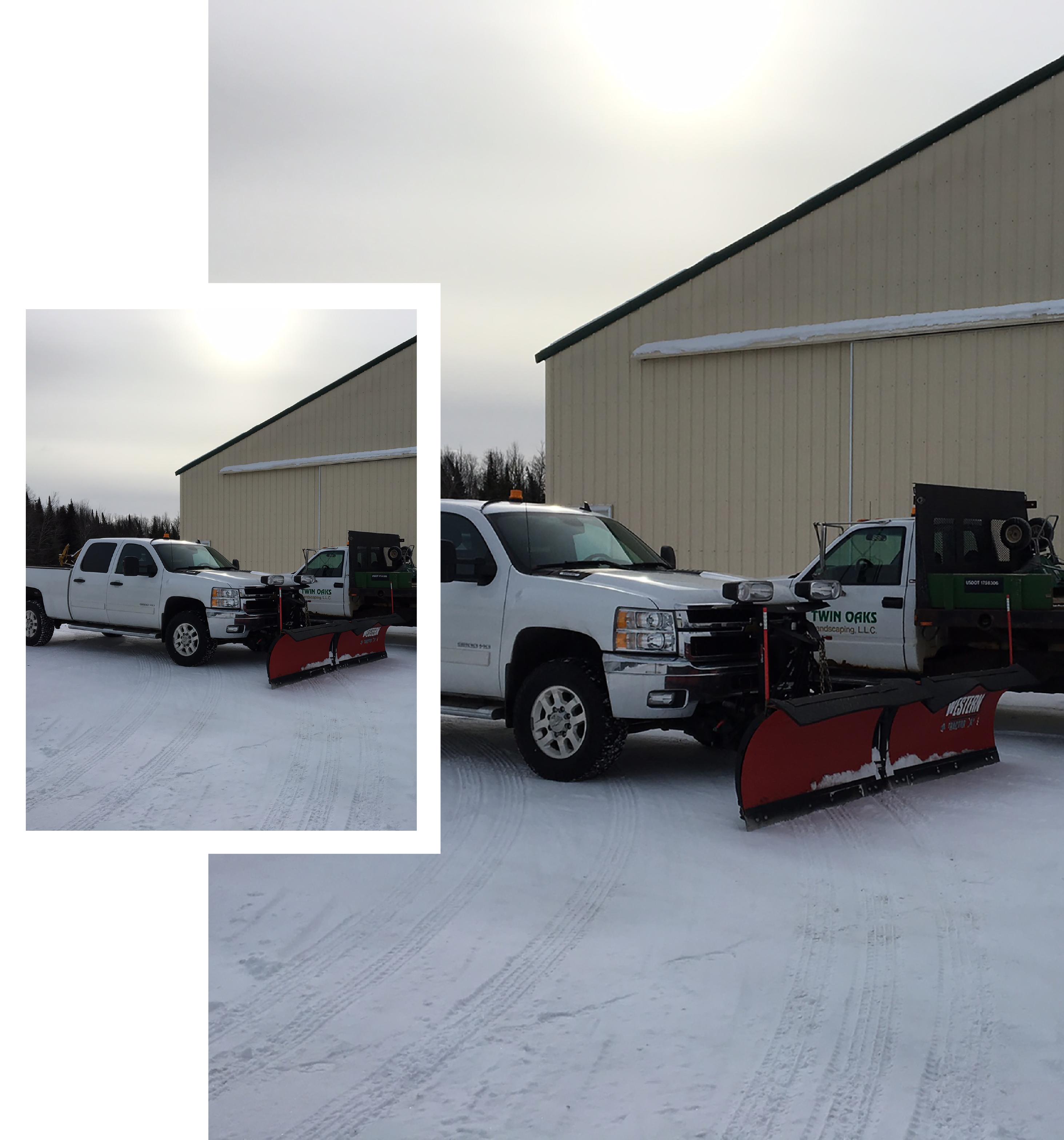 Twin Oaks Landscaping plow trucks