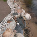 shoreline preservation boulder retaining wall