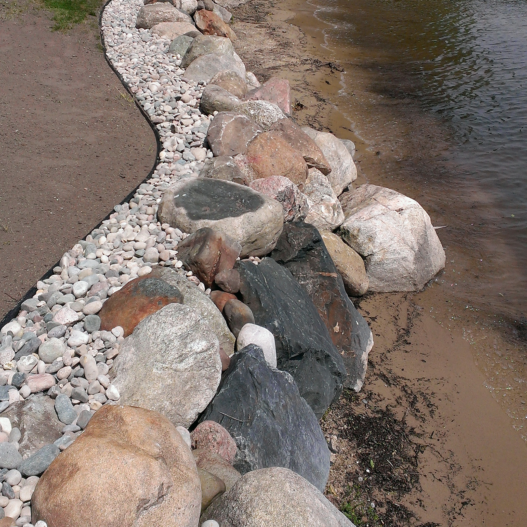 shoreline preservation boulder retaining wall