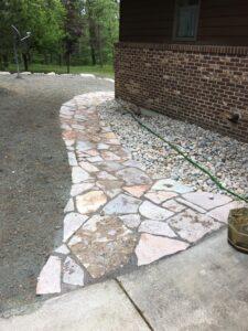 Flagstone walkway by Twin Oaks Landscaping