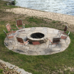 Outdoor living brick paver fire pit and patio