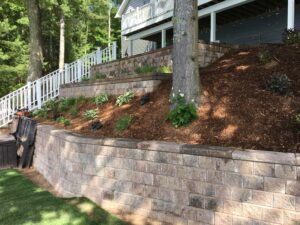 Retaining wall and softscape design and installation by Twin Oaks Landscaping