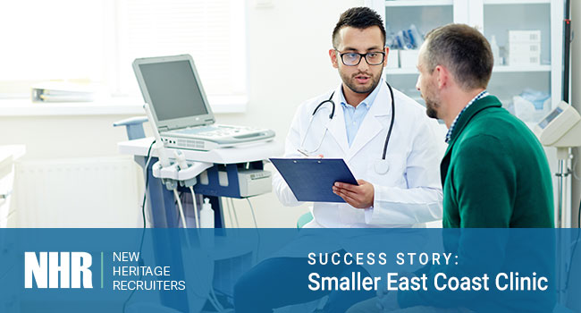 Doctor talking with patient. Success Story: Smaller East Coast Clinic