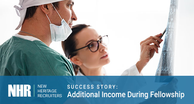 Doctors looking at chart. Success Story: Additional Income During Fellowship