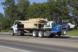 Piggyback forklifts enable drivers to deliver materials where they are needed.