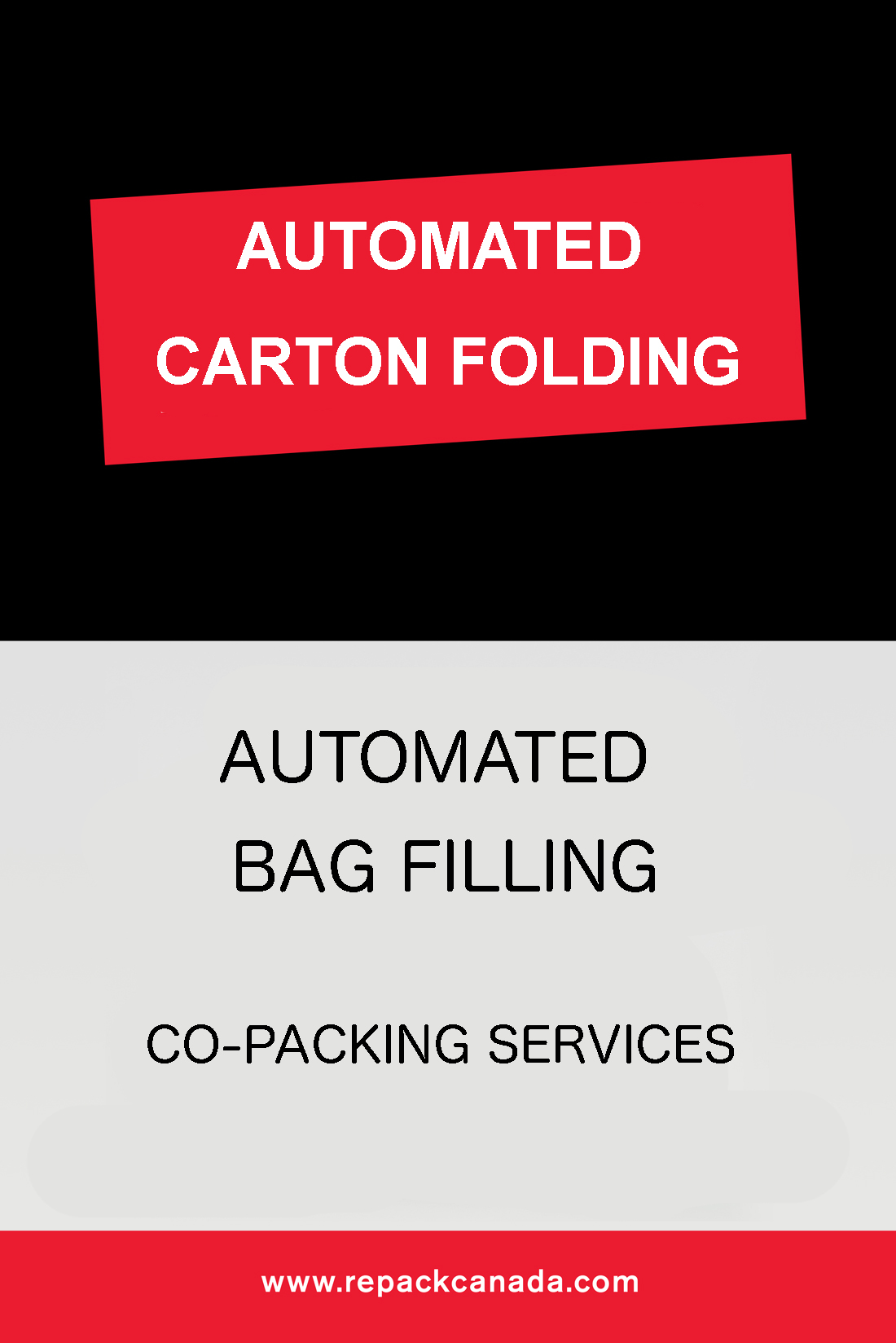 Automated Cartoning and Automated Bag Filling co-packing services by Repack Canada
