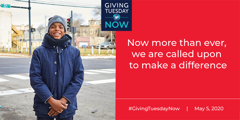 Photo of boy with Giving Tuesday Now logo