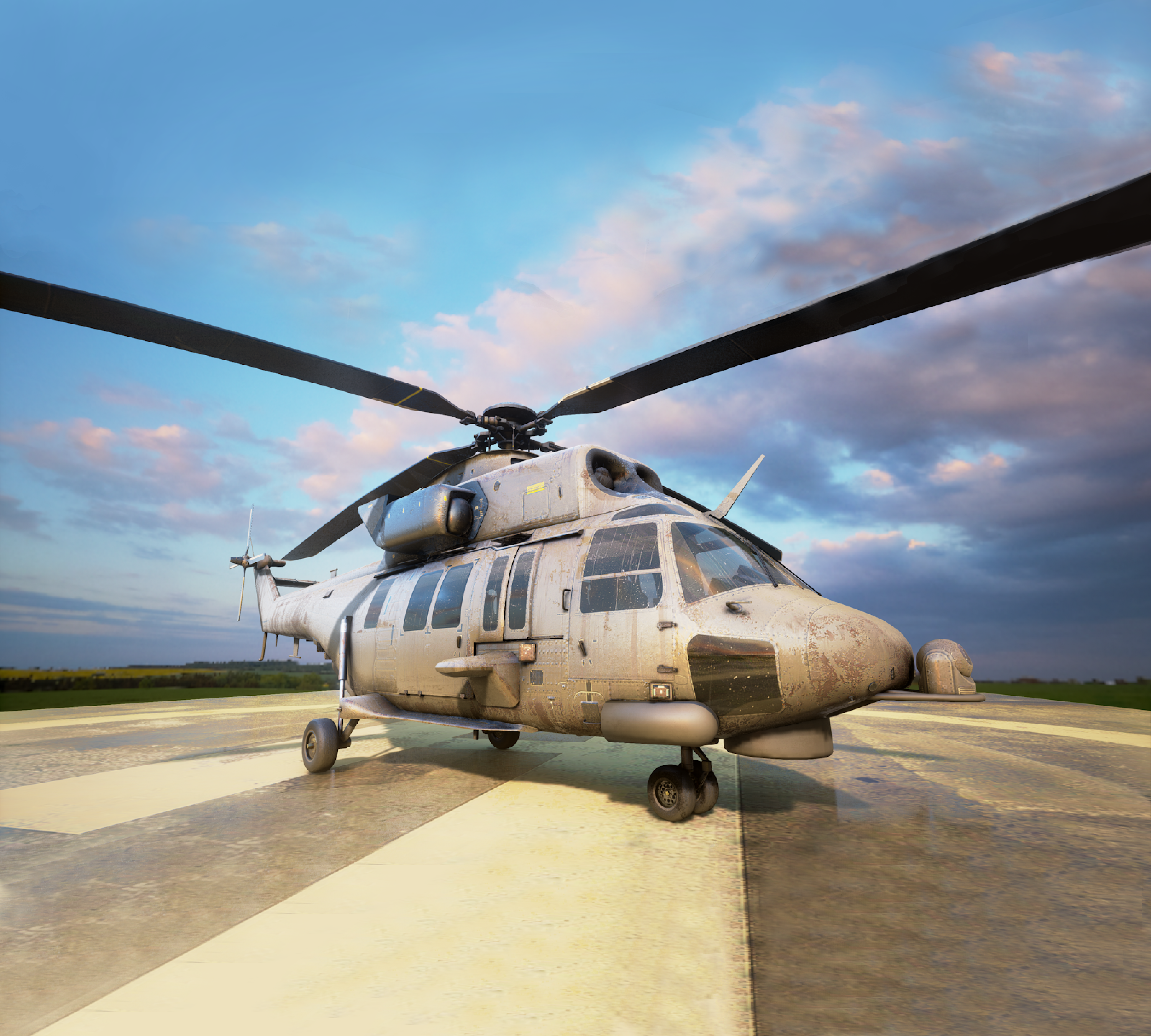 A Simthetiq 3D model of a helicopter on a landing pad