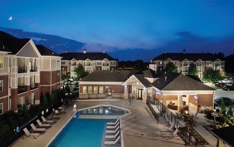 Olde Towne Apartments Pool at Night