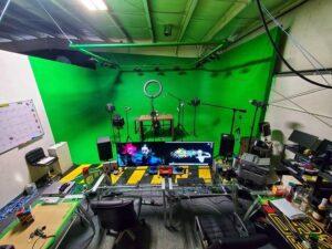 Music video studio green screen