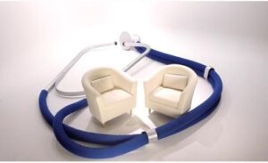 Two white lounge chairs with stethoscope