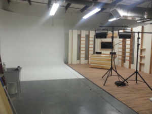 Cyclorama wall for a TV studio