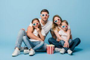 Family wearing 3D glasses