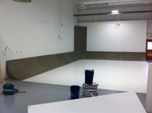 L-shaped cyclorama wall under construction
