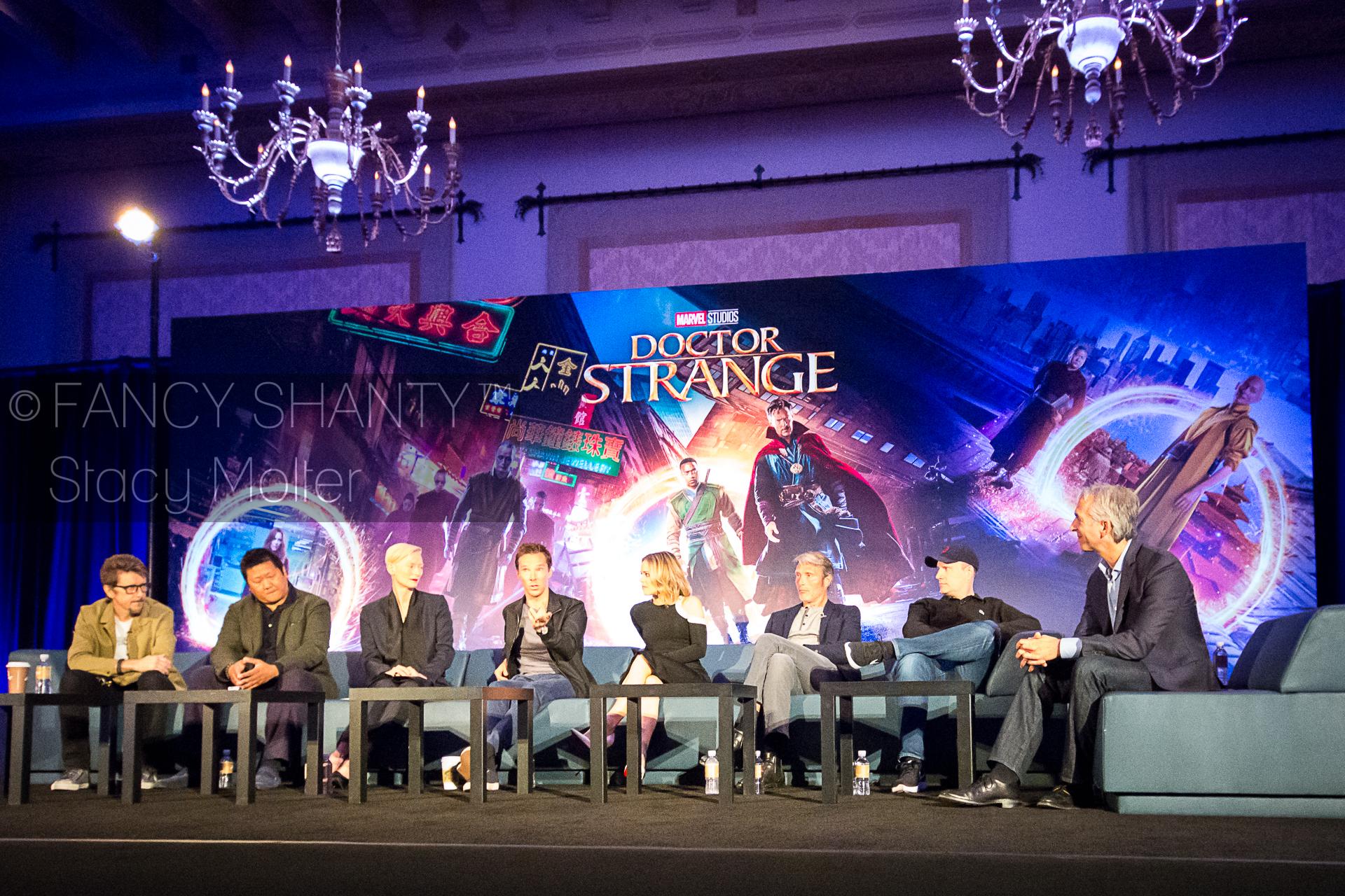 Benedict Cumberbatch. Mads Mikkelsen, Rachel McAdams, Benedict Wong, Scott Derrickson, Tilda Swinton, Kevin Feige - Doctor Strange Press Conference