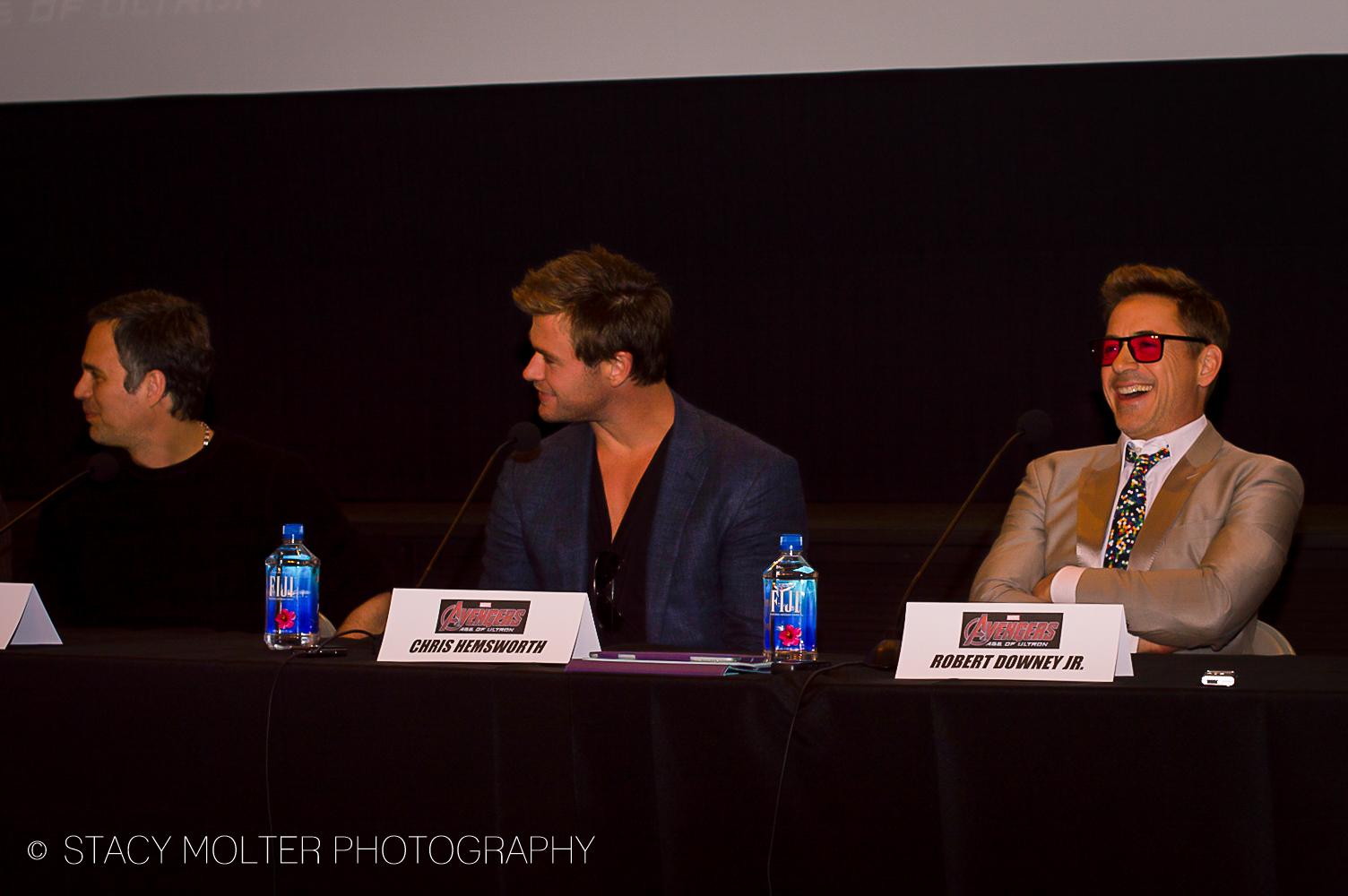 Mark Ruffalo, Chris Hemsworth, Robert Downey Jr. - Avengers Age of Ultron Press Conference Junket