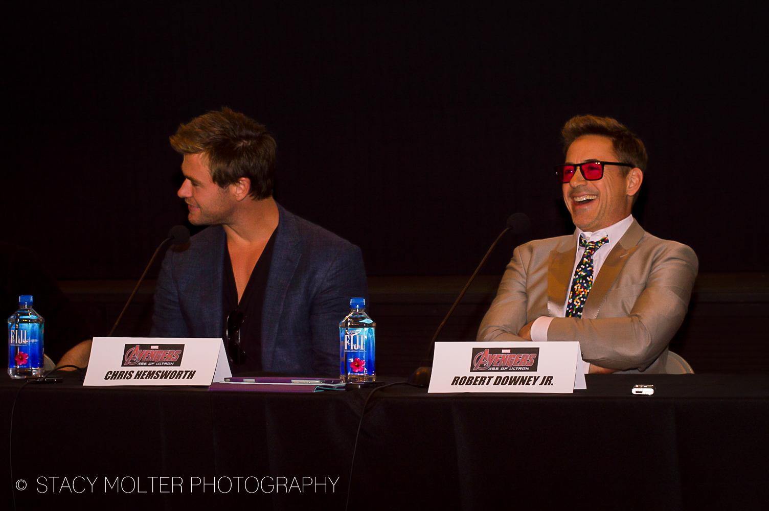 Chris Hemsworth & Robert Downey Jr. - Avengers Age of Ultron Press Conference Junket