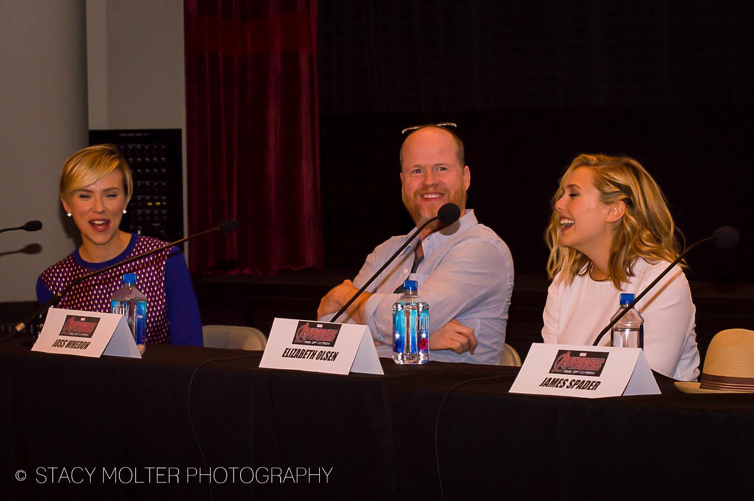 Scarlett Johansson, Joss Whedon, Elizabeth Olsen - Avengers Age of Ultron Press Conference Junket