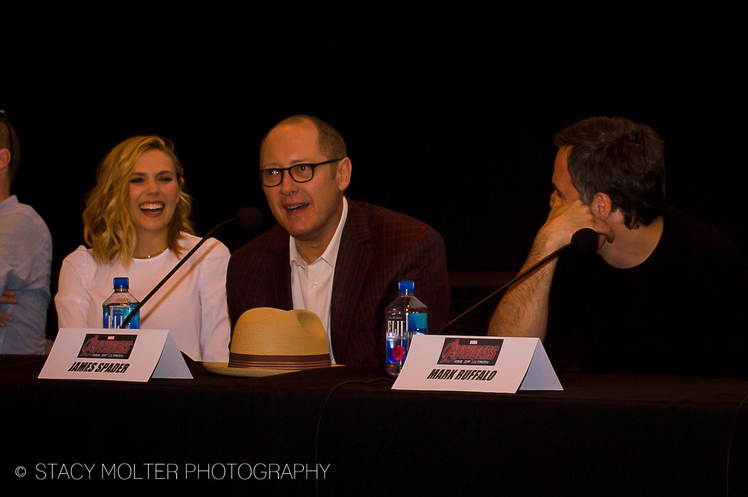 Elizabeth Olsen, James Spader, Mark Ruffalo - Avengers Age of Ultron Press Conference Junket