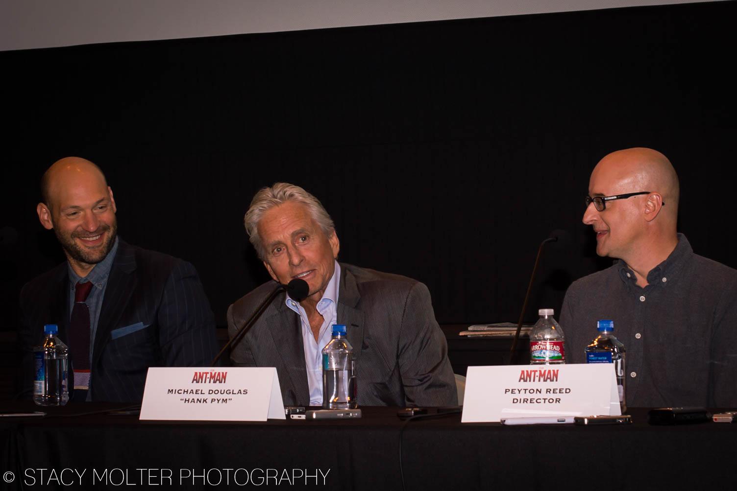 Corey Stoll, Michael Douglas, Peyton Reed - Ant-Man Press Conference