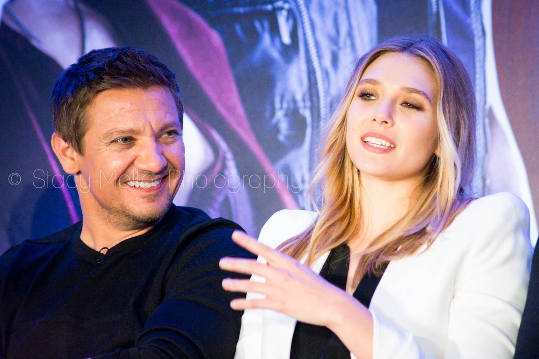 Jeremy Renner & Elizabeth Olsen - Captain America: Civil War Press Conference