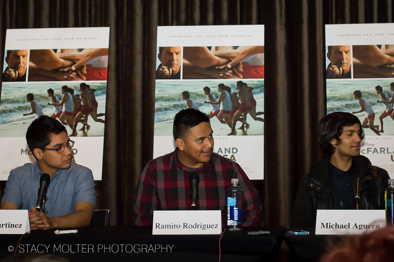 Rafael Martinez, Ramiro Rodriguez, Sergio Avelar - McFarland USA Press Conference Junket