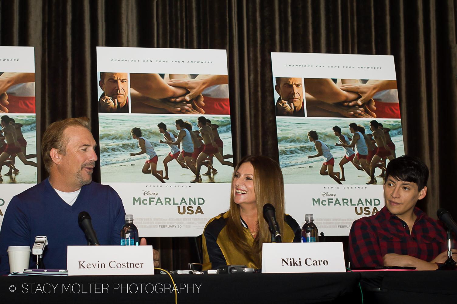 Kevin Costner, Niki Caro, Carlos Pratts - McFarland USA Press Conference Junket