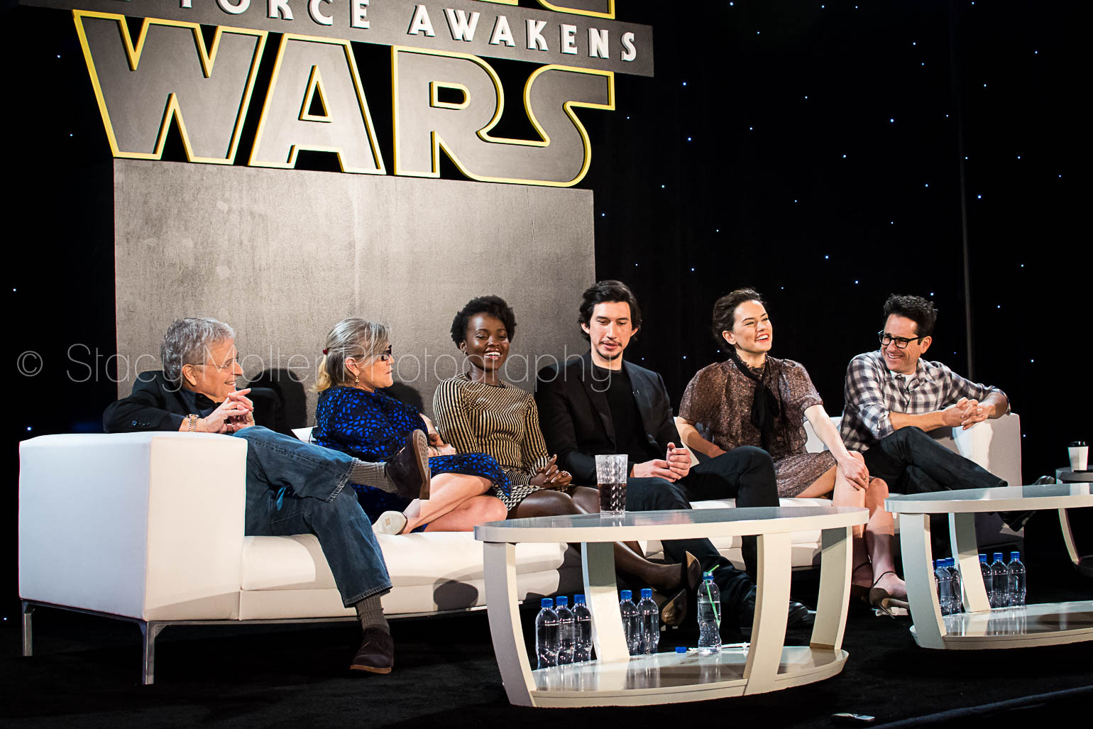 Carrie Fisher, JJ Abrams, Daisy Ridley, Adam Driver, Lupita Nyong'o, Lawrence Kasdan - Star Wars The Force Awakens Press Conference