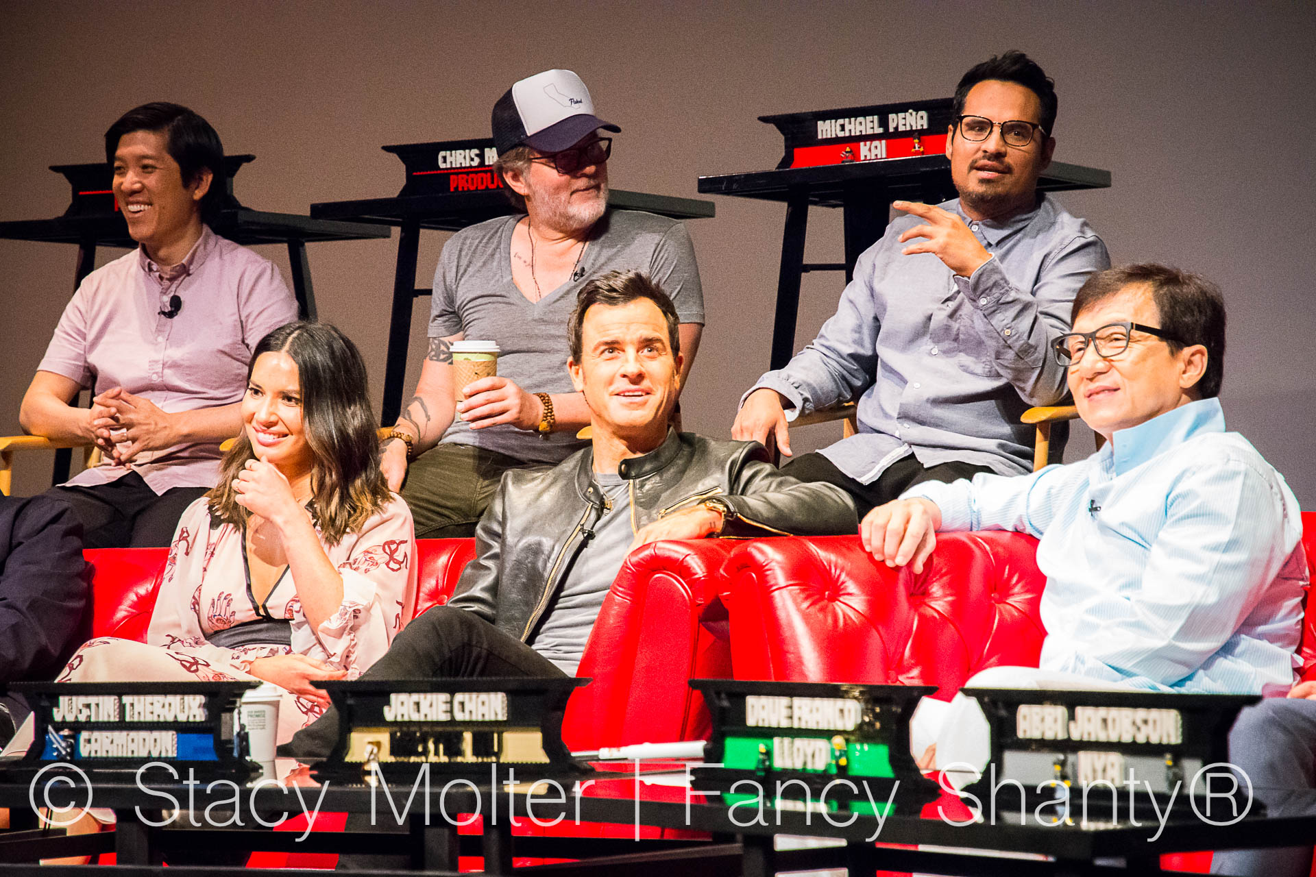 Jackie Chan, Dave Franco, Justin Theroux, Olivia Munn, Michael Pena, Kumail Nanjiani, Zach Woods, Fred Armisen, Abbi Jacobson, Dan Lin, Chris McKay, Charlie Bean - The Lego Ninjago Movie Press Conference
