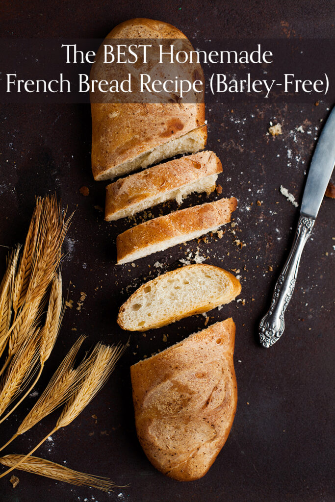 Below the crusty layer of this barley-free homemade french bread recipe lies a bread with a soft, delicate texture. This bread is the perfect addition to your favorite soups, pasta, and sandwich dishes.