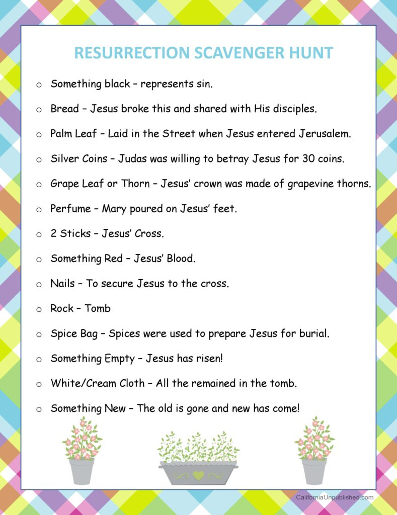 Free Printable Resurrection Scavenger Hunt