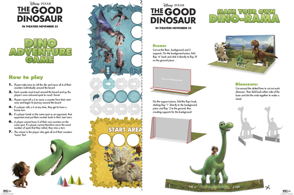 The Good Dinosaur Free Printable Activity Sheets