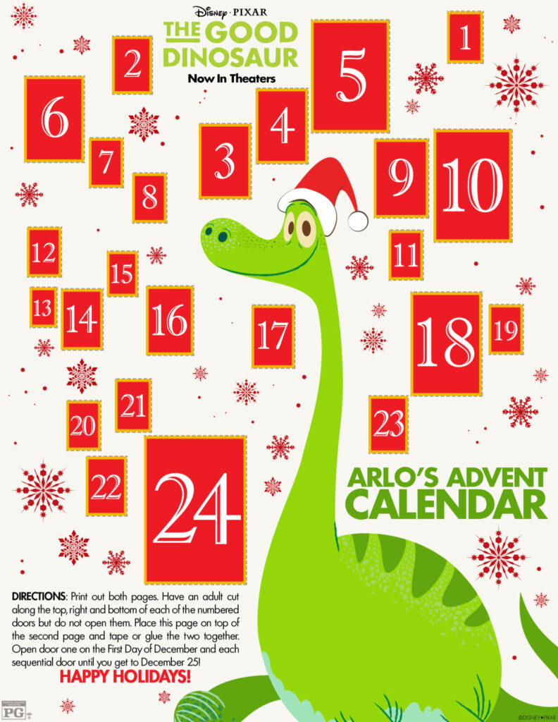 The Good Dinosaur Advent Calendar and Christmas Activities