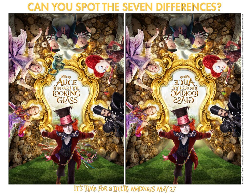 Free Alice Through the Looking Glass Activity Sheets