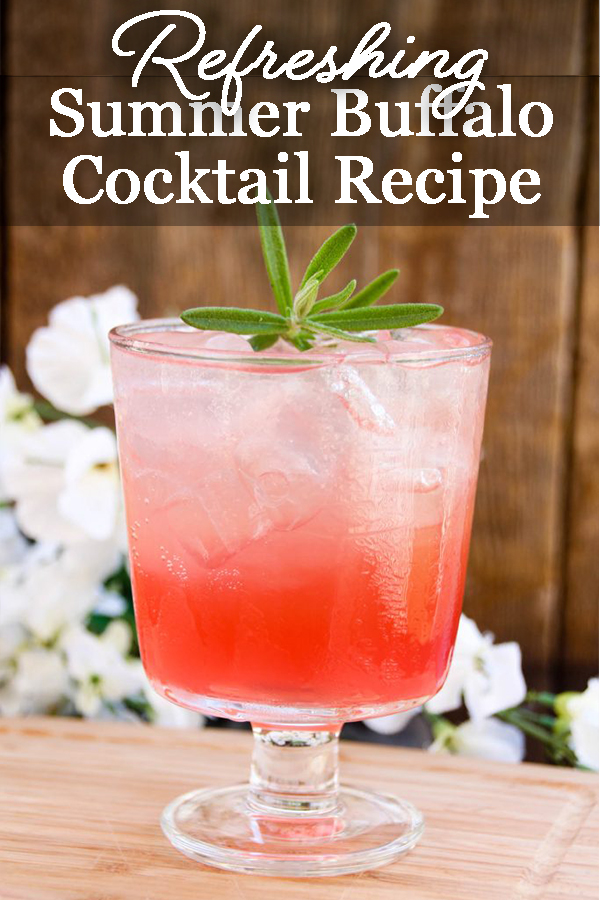 The soft and sweet flavors of bourbon bounce off the tart cranberry lemonade in this summer Buffalo Cocktail recipe you are sure to love! Pair this delicious cocktail with your favorite summer recipe like a summer jambalaya or a light and refreshing wedge salad with smokey bacon and dill dressing, even a rich and decadent chocolate Torte.