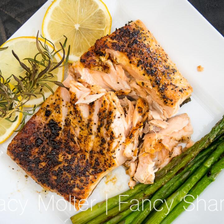 10 Minute Baked Lemon Pepper Salmon With Asparagus