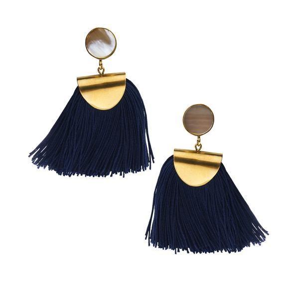 Horn and Tassel Earrings
