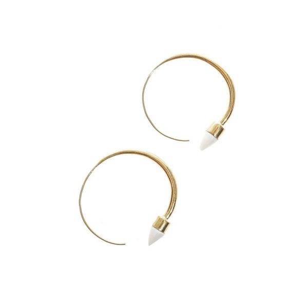 Bone Tip Hoop Earrings
