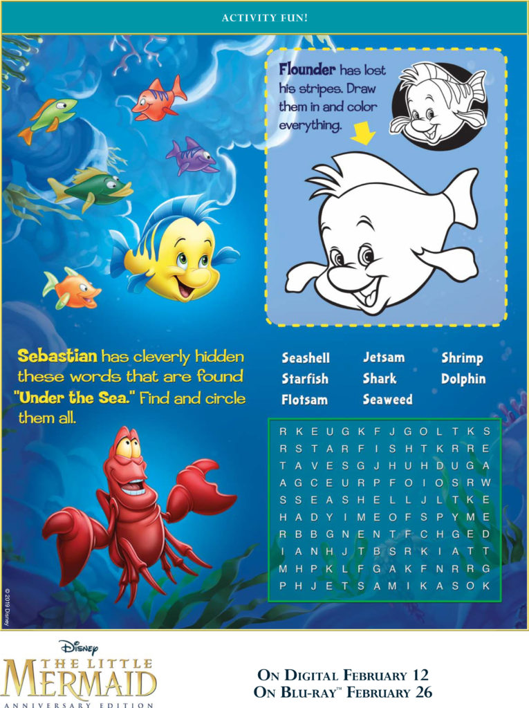 The Little Mermaid Activity Sheets
