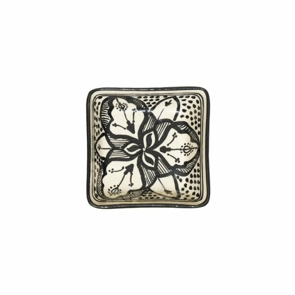 Square Floral Dishes Black