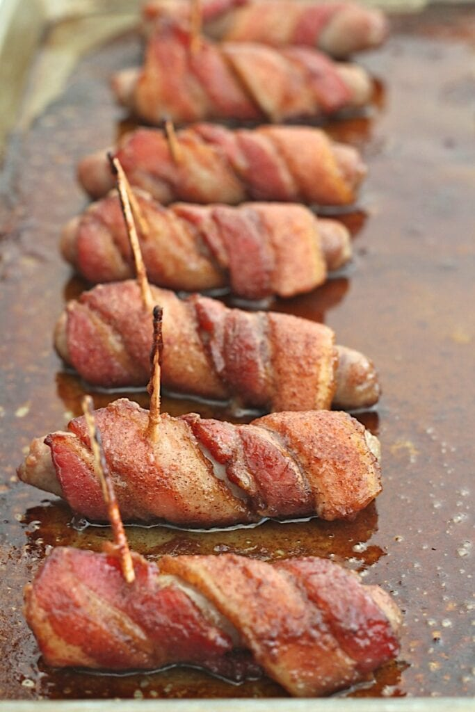 Bacon-Wrapped Sausages with Maple Pumpkin Glaze