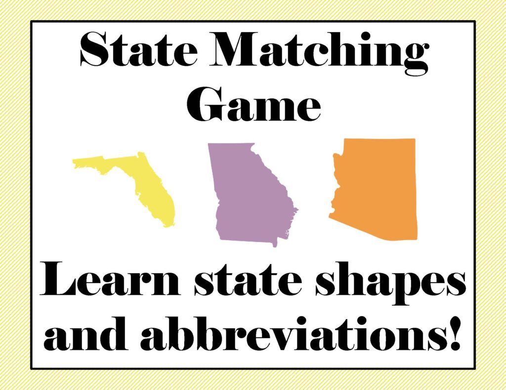 Free Printable U.S. State Matching Game