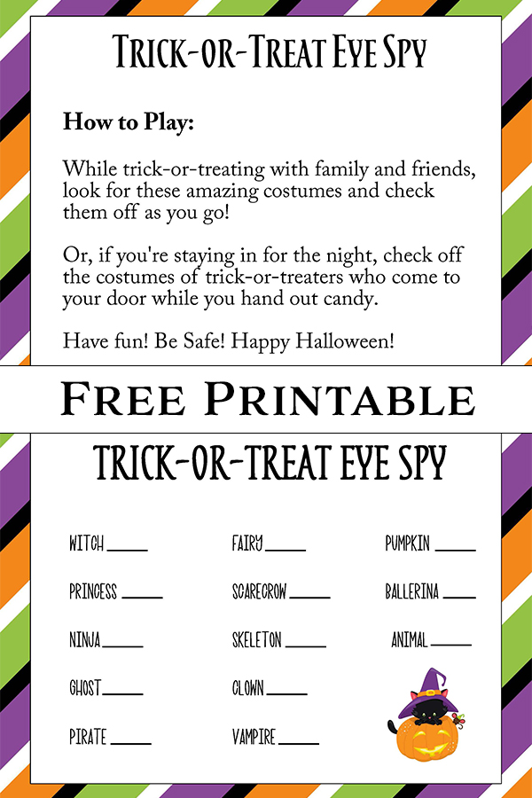Free Printable Halloween Trick or Treat Eye Spy Game