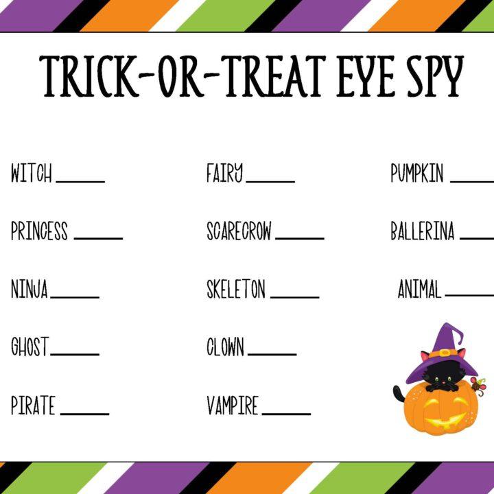 Free Printable Halloween Trick or Treat Eye Spy Game