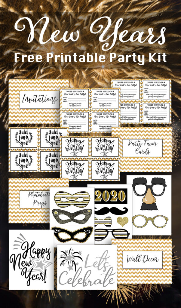 Ring in the new year with this free printable New Years party kit featuring 22 pages of festive New Years printables to help you host an amazing New Years party.