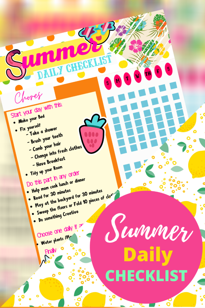 """Summer is here and the """"I'm bored"""" 100 times a day has started. So how can you beat summer boredom?  Beating summer boredom is as easy as keeping a routine, including outside time, assigning chores, and including time to be creative. Use this free printable Summer Checklist to make sure everything gets done and read on for more inspiration!"""
