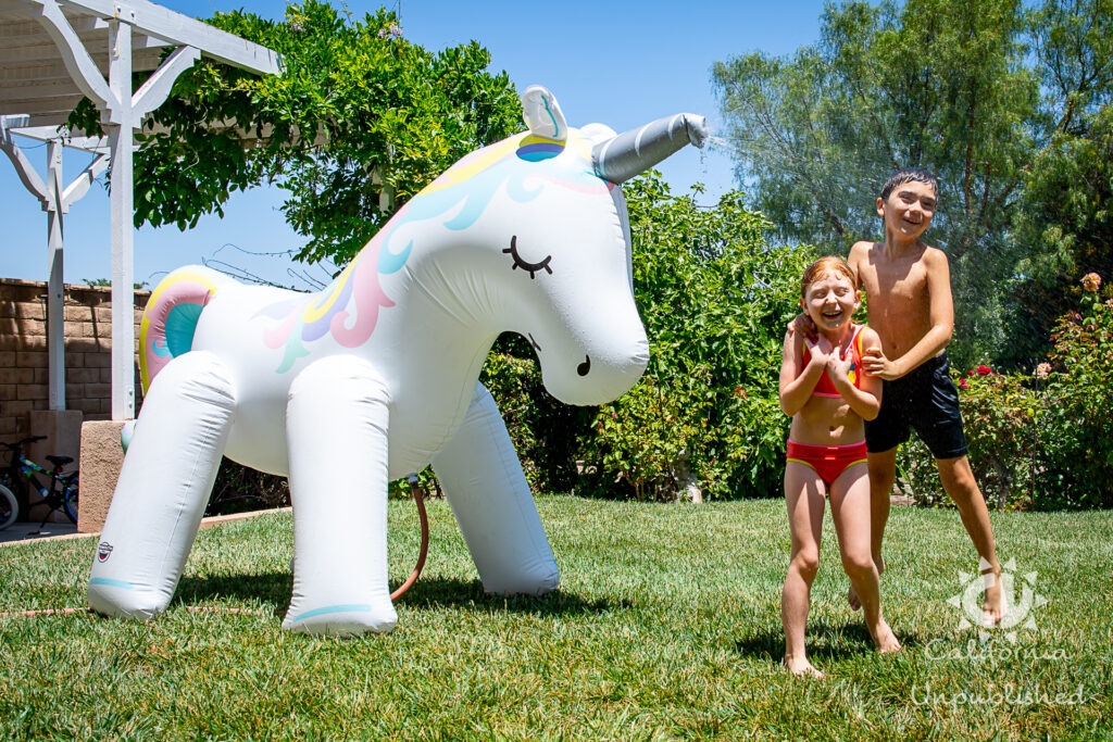 Unicorn Sprinkler - Backyard Family Staycation Ideas
