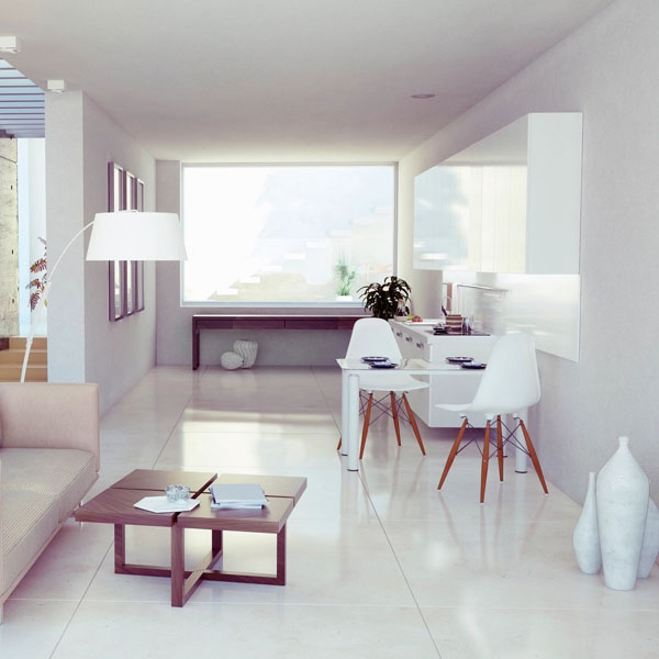 white room with marble tile floor